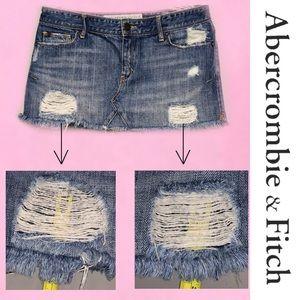 Abercrombie & Fitch Skirts - ABERCROMBIE Distressed Mini Denim Skirt 6
